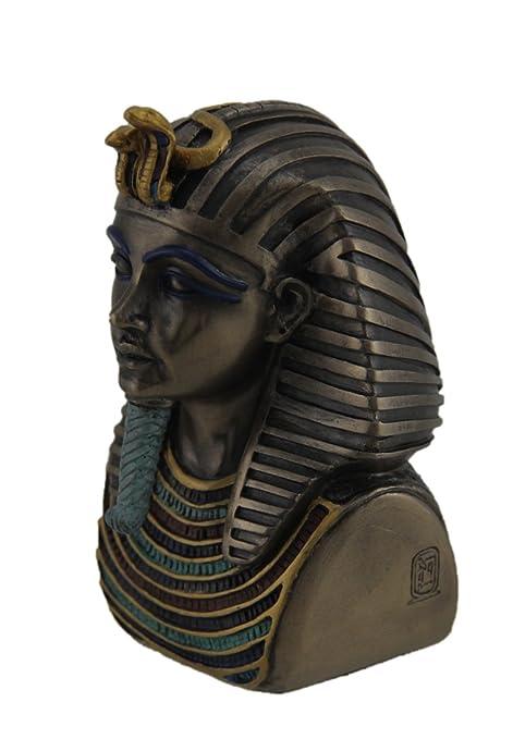 Resina estatuas metálico acabado en bronce King Tut muerte máscara Mini Estatua 2,5 x 4 x 2,5 pulgadas bronce modelo # wu67963 a4: Amazon.es: Hogar