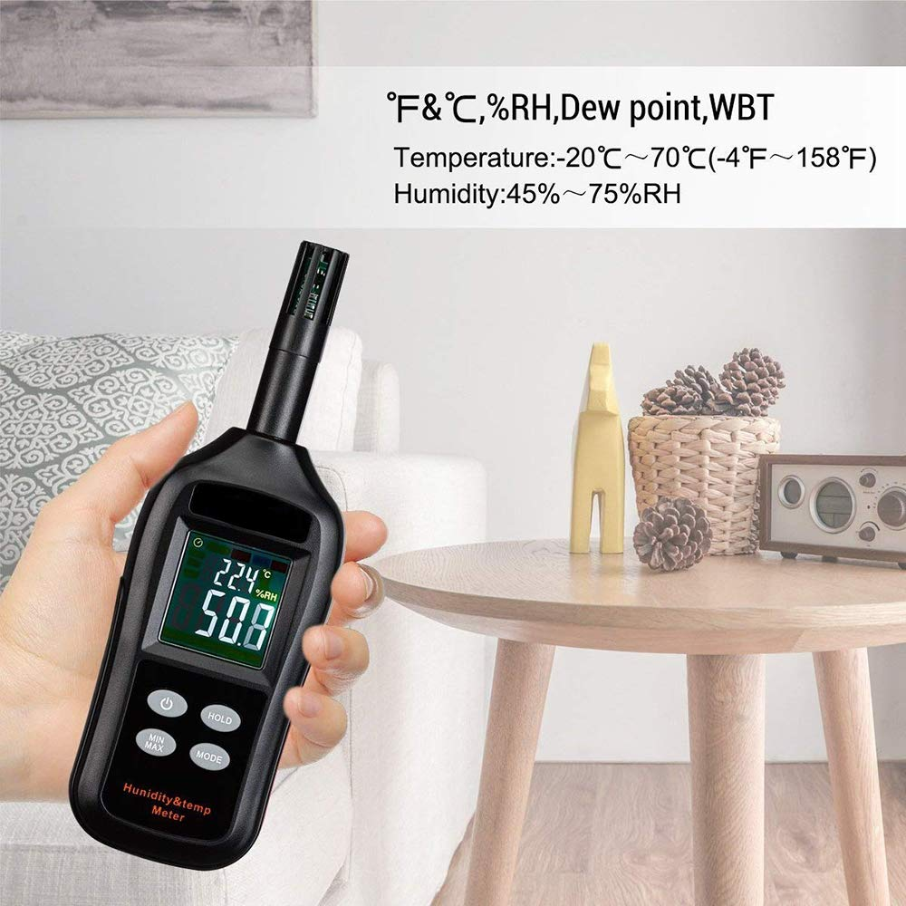 Agriculture LIGHTOP Digital Temperature and Humidity Meter Temperature Hygrometer LCD Mini Psychrometer Thermo-Hygrometer with Dew Point and Wet Bulb for Industry Meteorology and Daily Life