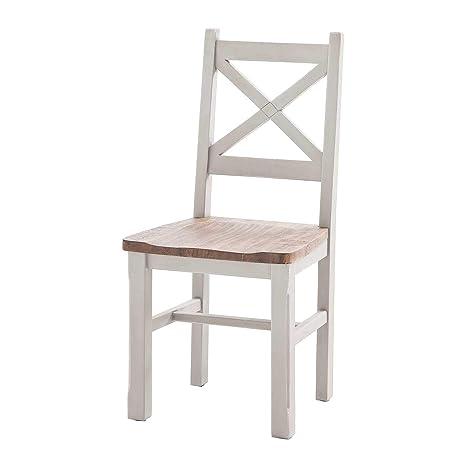 Möbel Ideal Stuhl Byron Weiß Braun Landhausstil Holzstuhl 2er Set
