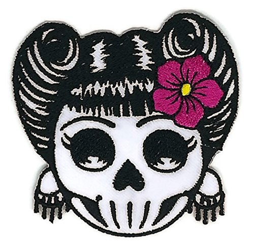 3 x 3 inches.Novelty Iron on - Skulls Candy Skull & Pink Flowers Logo - Mail Times Delivery Canada