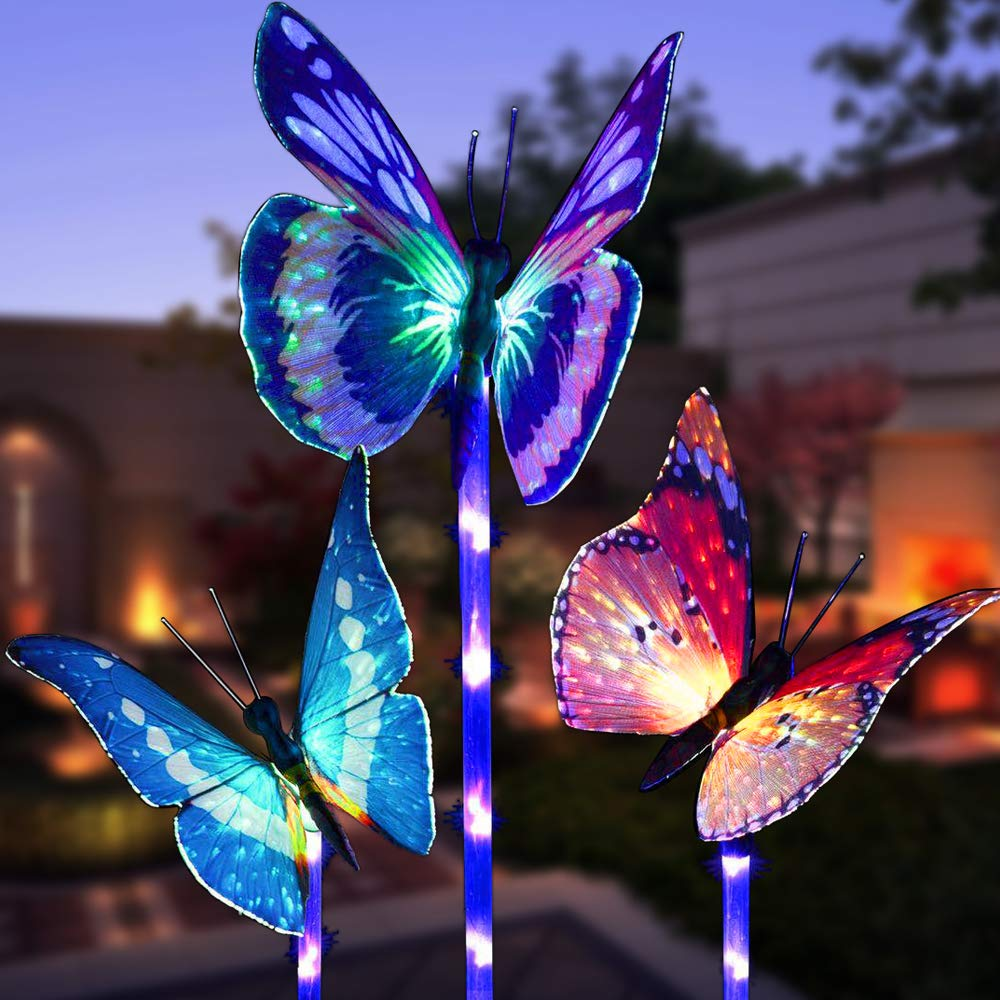Garden Solar Lights Outdoor, 3 Pack Solar Stake Lights Multi-Color Changing LED Butterfly, Fiber Optic Butterfly Decorative Lights with a Purple LED Light Stake (Outdoor Solar Garden Stake Lights) by WOHOME