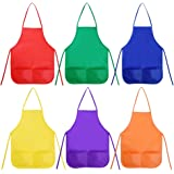 Blulu 12 Pieces Children's Apron Painting Aprons with Pockets for Kids Painting and Baking, 6 Colors