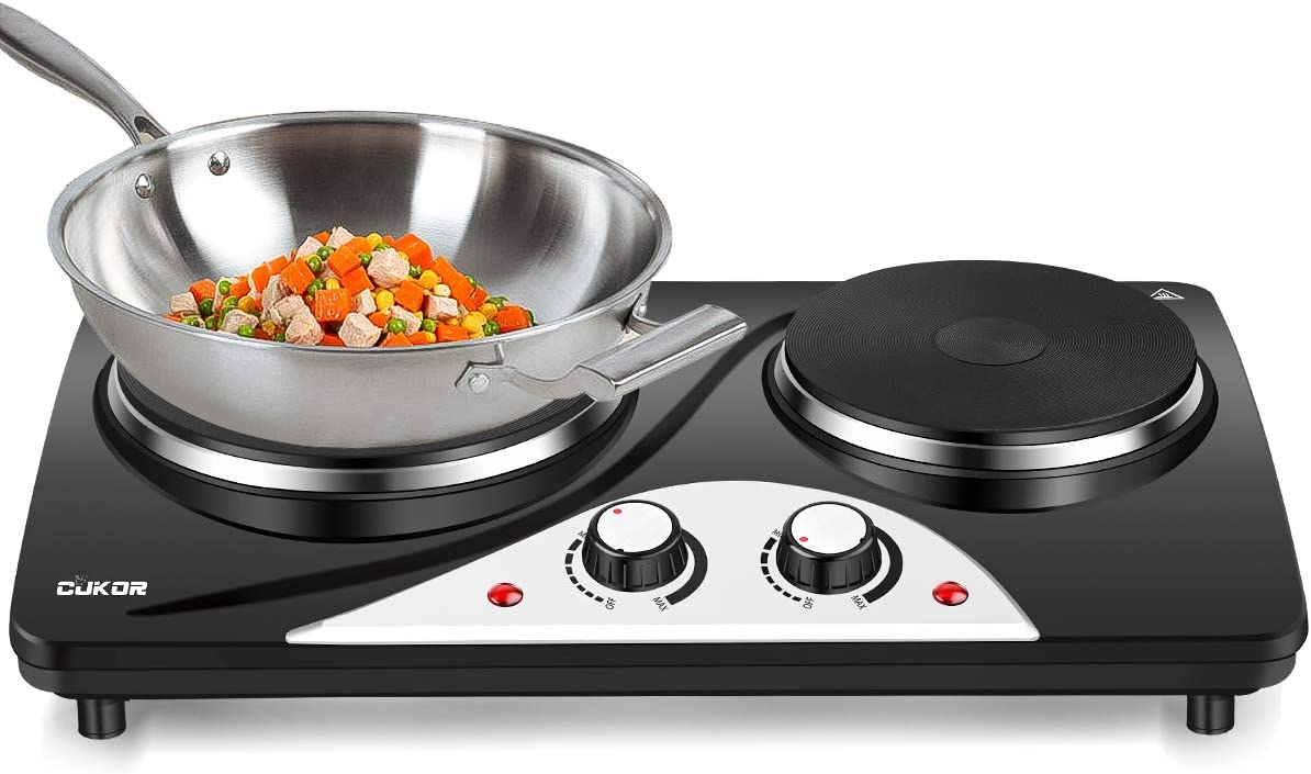 CUKOR Cast-Iron Electric Hot Plate, 1800W Countertop Burner, Dual Electric Burner, Portabel Double Burner for Cooking
