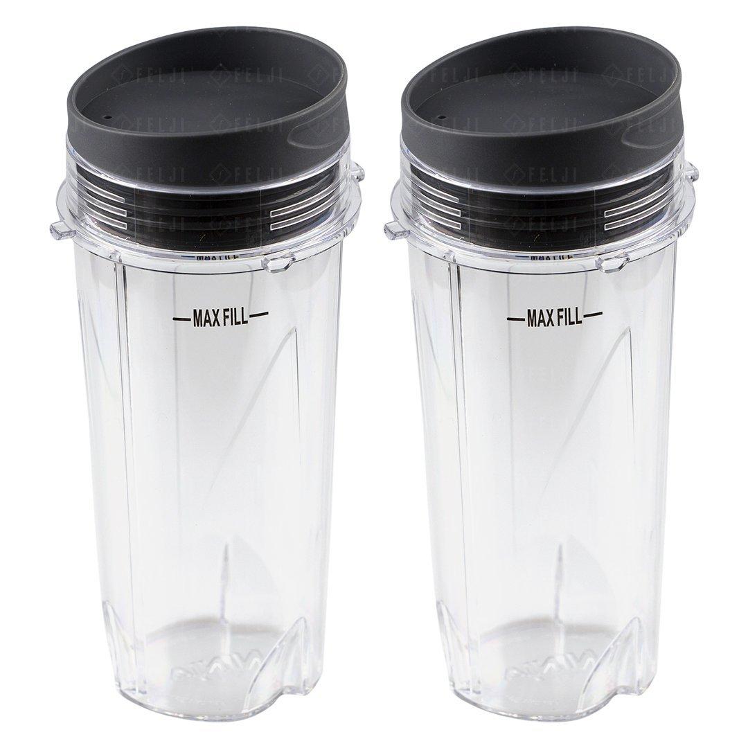 2 Nutri Ninja 16 oz Cups with To-Go Lids Replacement Model 303KKU 305KKU for BL660 BL663 BL663CO BL665Q BL740 BL780 BL810 BL820 BL830