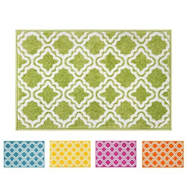 Small Rug Mat Doormat Well Woven Modern Kids Room Kitchen Rug Calipso Green 1'8  x 2'7  Lattice Trellis Accent Area Rug Entry Way Bright Carpet Bathroom Soft Durable