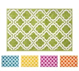 Lime Green Rug Modern Rug Calipso Green 5'X7' Lattice Trellis Accent Area Rug Entry Way Bright Kids Room Kitchn Bedroom Carpet Bathroom Soft Durable Area Rug