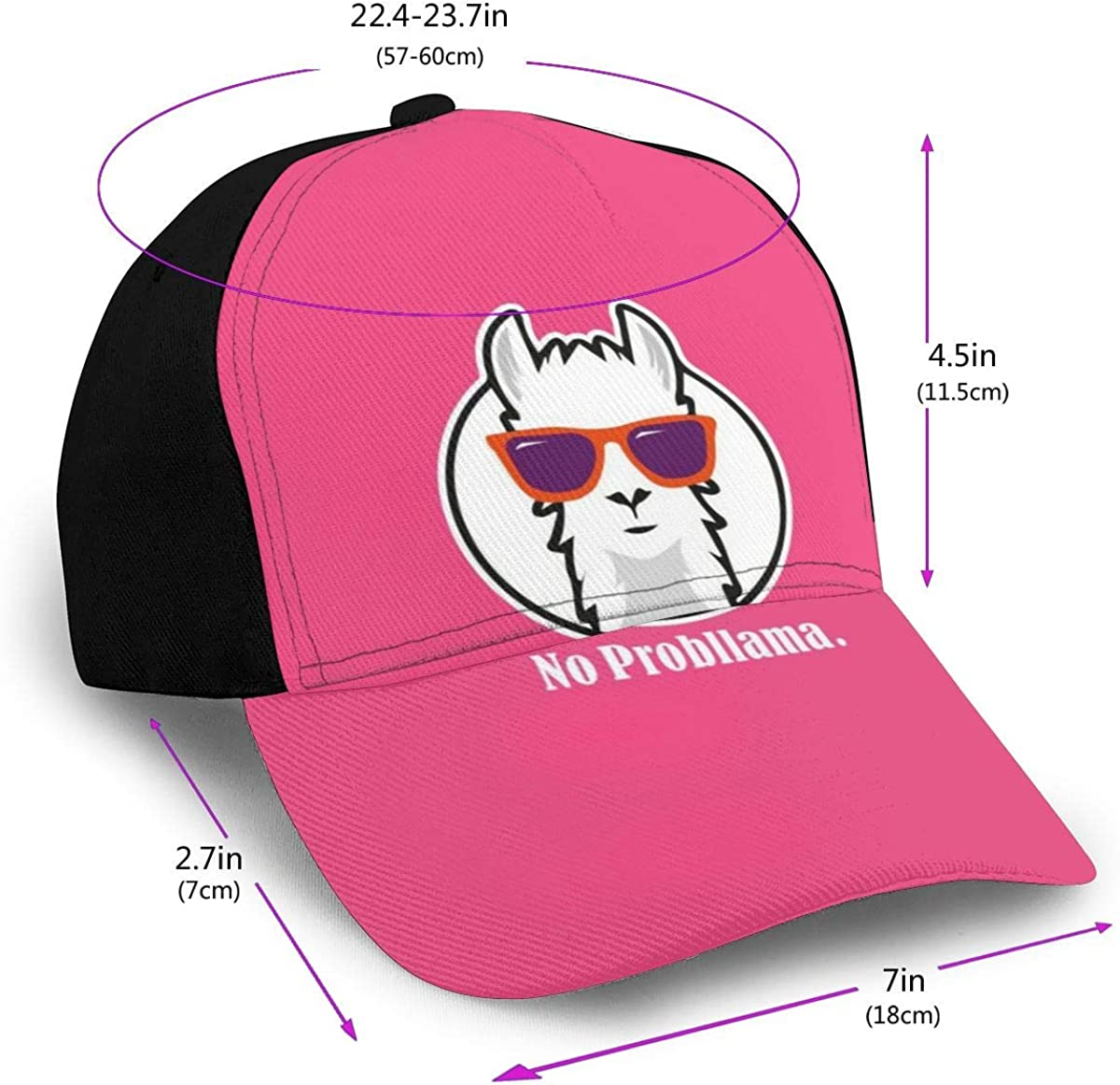 No Probllama Funny Shirt with Llama Cap Baseball Hat Classic Black