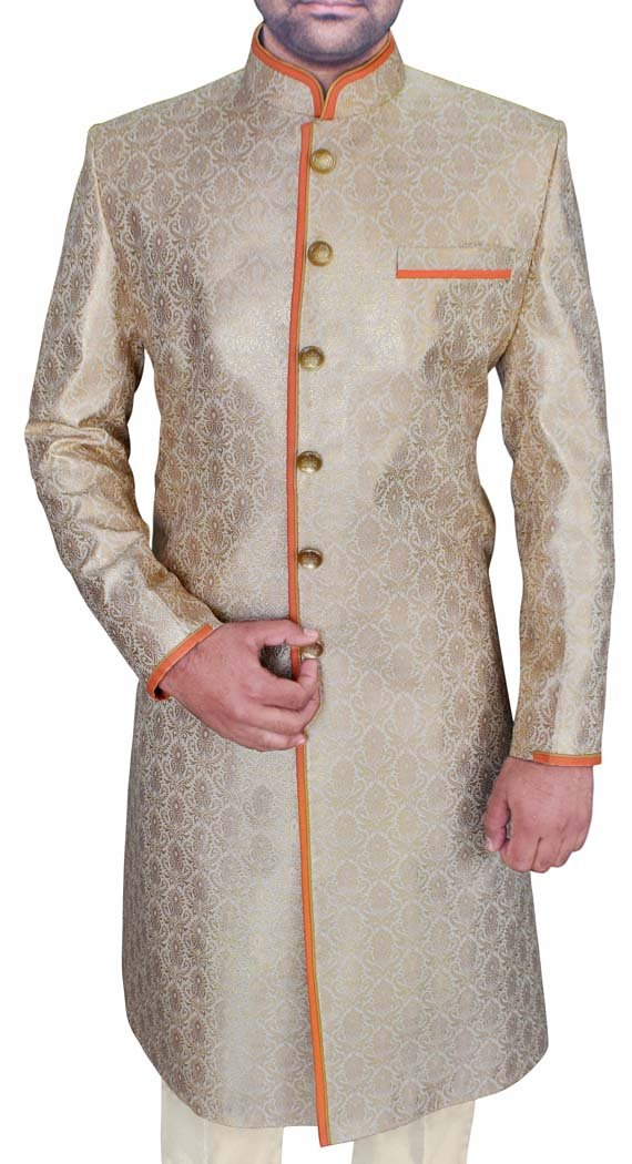 INMONARCH Mens Ivory 2 Pc Wedding Sherwani Trimming SH494S42 42 Short Ivory