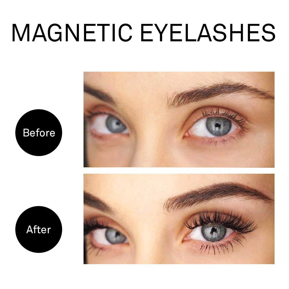Magnetic Eyelashes with Magnetic Eyeliner, AIRGINE 3D Reusable False Eyelash Set with Tweezers, 3 Pairs Natural Dramatic Fake Lashes, Glue Free