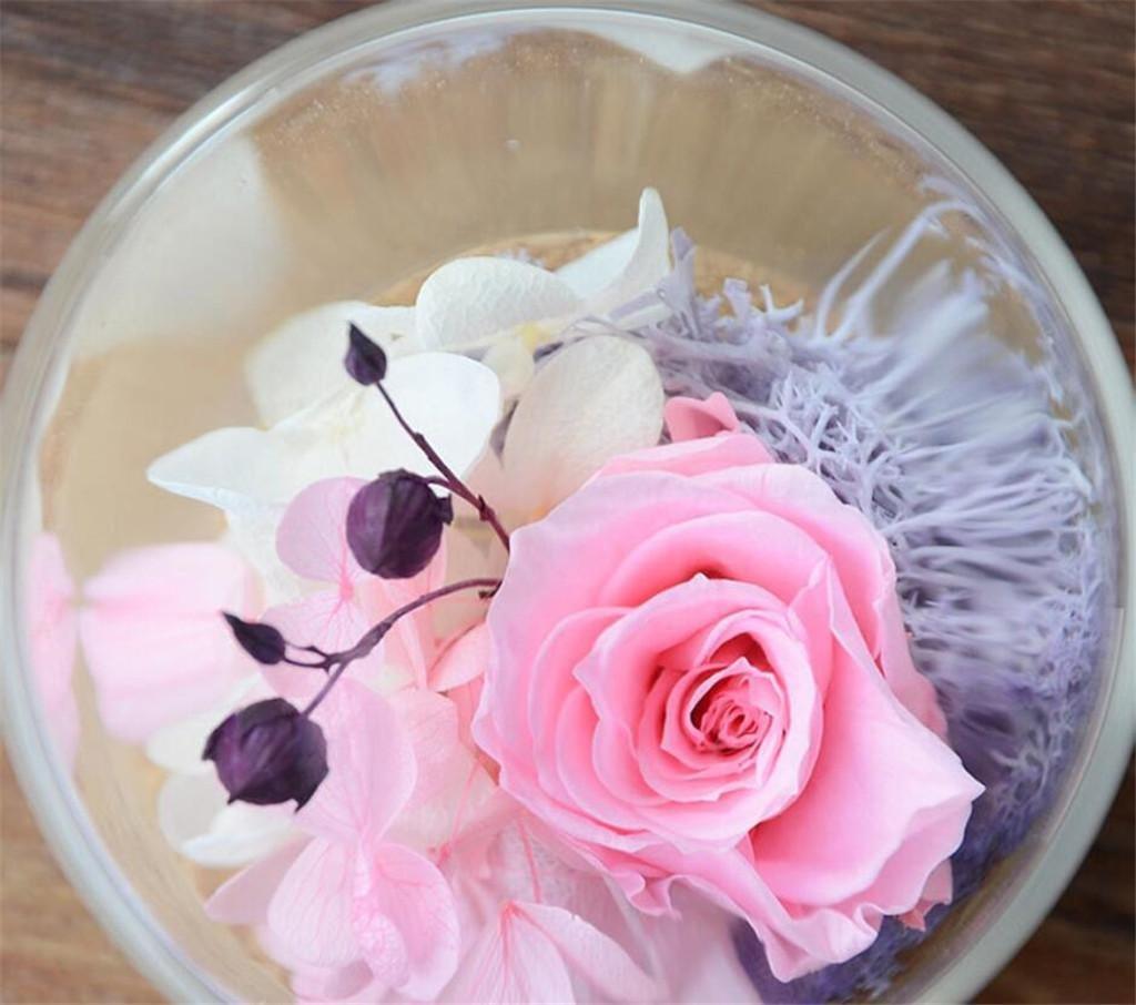 SHFANG Flor fresca preservada Rosa Flor eterna Botella de tabla mini Hortensia Acacia frijol Navidad Regalo de cumpleaños de Halloween , pink mini cylinder: ...