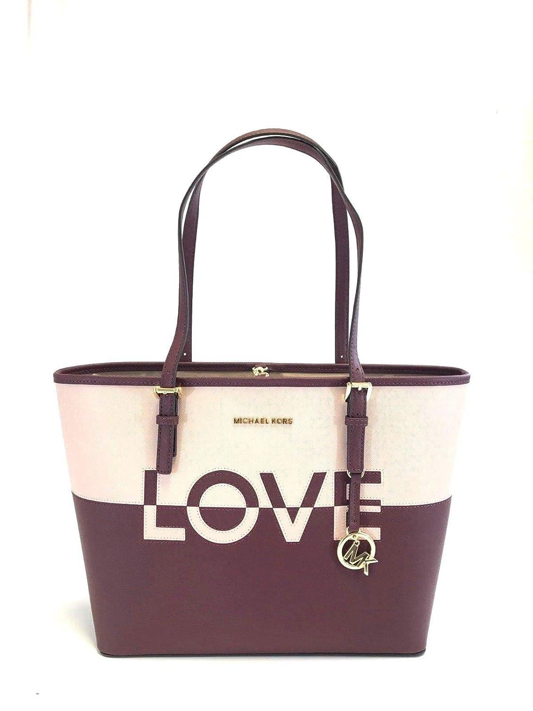 Michael Kors Jet Set Carryall Travel Medium LOVE Bag Ballet Merlot  Handbags   Amazon.com 70ee0318ebaf7