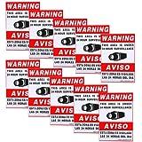 "VideoSecu 10 Home CCTV Surveillance Security Camera Video Stickers Warning Decals 11.5""x8.3"" Weatherproof Vinyl Window Alarm Signs CKL"