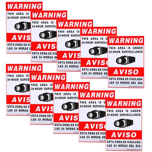 "VideoSecu 10 Home CCTV Surveillance Security Camera Video Stickers Warning Decals 11.5""x8.3"" Weatherproof Vinyl Window Alarm Signs CKL"