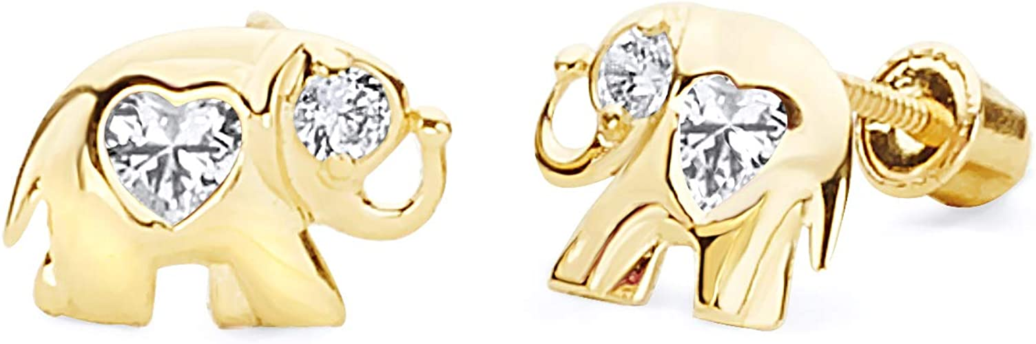 Wellingsale 14K Yellow Gold Polished Infinity Stud Earrings With Screw Back