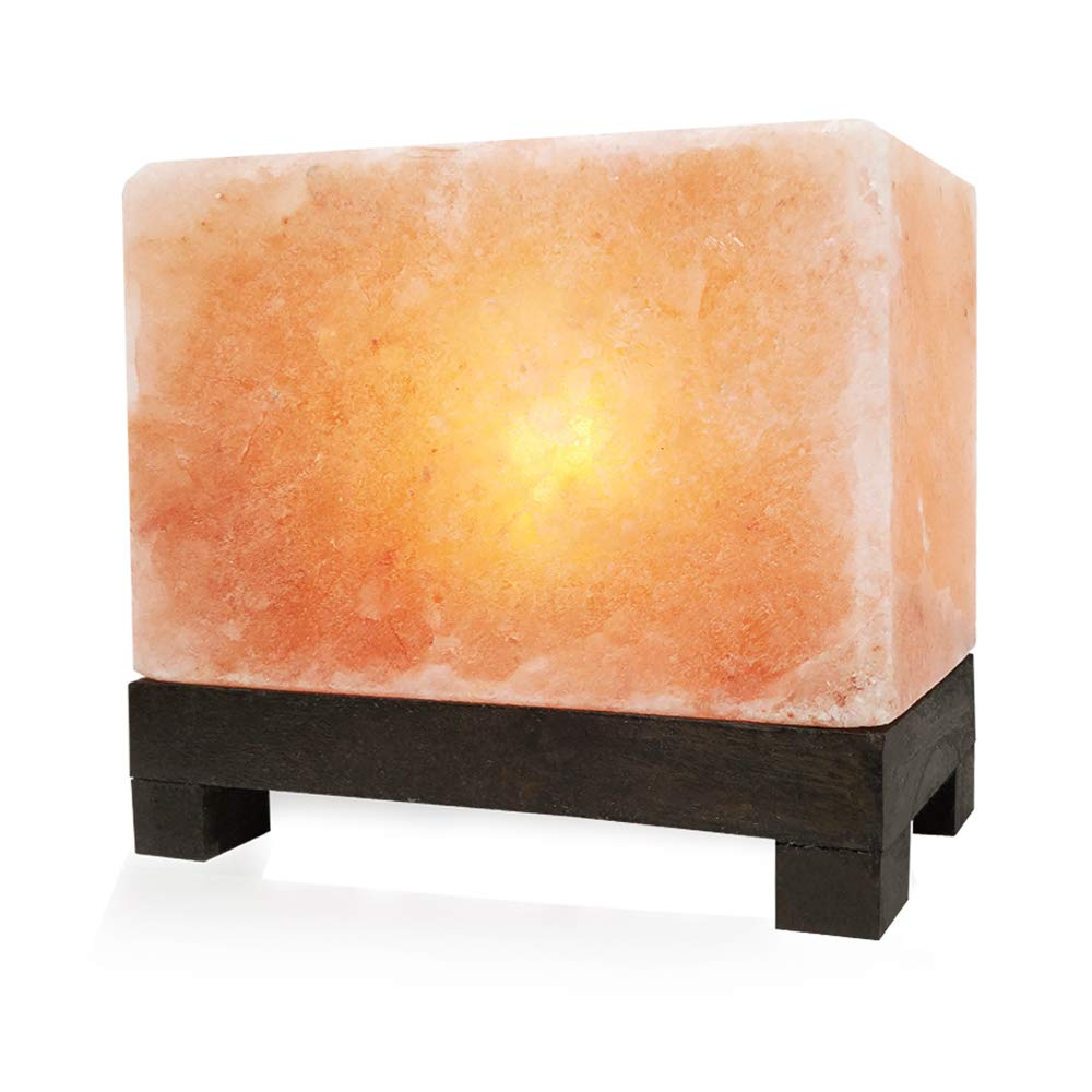 UMAID Authentic Natural Himalayan Salt Lamp, Hand-Carved Modern Rectangle in Pink Crystal Natural Rock Salt from the Himalayan Mountains, Stylish Footed Wood Base, UL-Listed Dimmer Cord