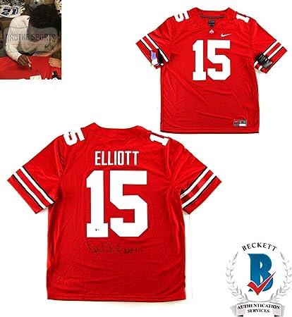 c9ee5cf52 Ezekiel Elliott Autographed Signed Ohio State Buckeyes Red Nike Jersey