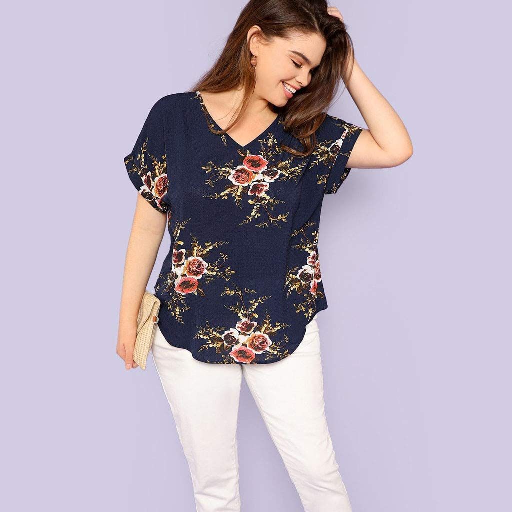 Ladies Tops Fashion Women Plus Size V-Neck Short Cuffed Sleeve Floral Print Casual Top Plus Size Tops for Women