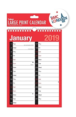 2019 Calendar And Planner Month To View Week To View A4 Extra Wide