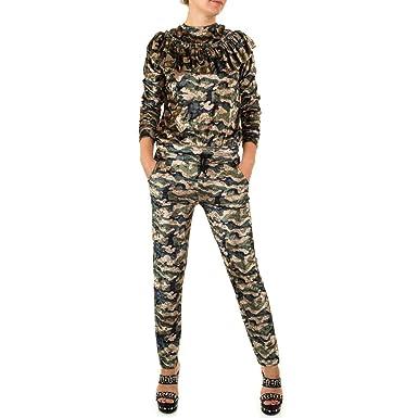 3e181641d04d Elegant Damen Jumpsuit mit Spitze Lang Hosen Rundhals Ausschnitt Langarm  Overall Party Abendmode Camouflage Grün