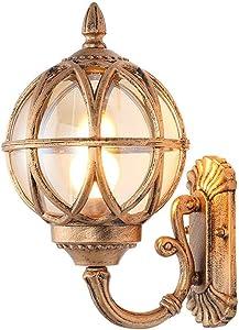 MAOFALZZNA American Classic Spherical Glass Wall Light Lantern Rustic Outdoor Waterproof Single Head Wall Lamp Wall Spotlight Garden Decoration Lamp,Brass