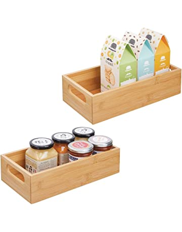 mDesign Bamboo Wood Compact Food Storage Bin with Handle for Kitchen Cabinet, Pantry, Shelf