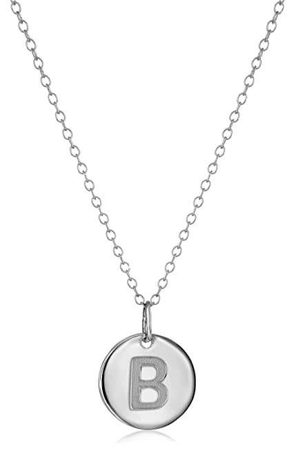 Amazon sterling silver round disc initialb pendant necklace sterling silver round disc initialquotbquot pendant necklace aloadofball Image collections