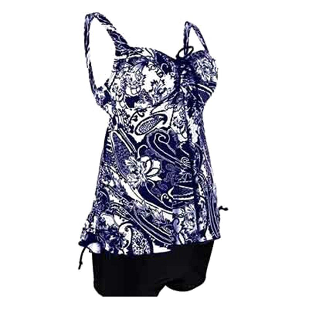 Hibote Tankini Plus Size Zweiteiler Badeanzug Frauen Vintage Bikini Sets Push Up Bademode Badeanzug Beachwear Strandanzug