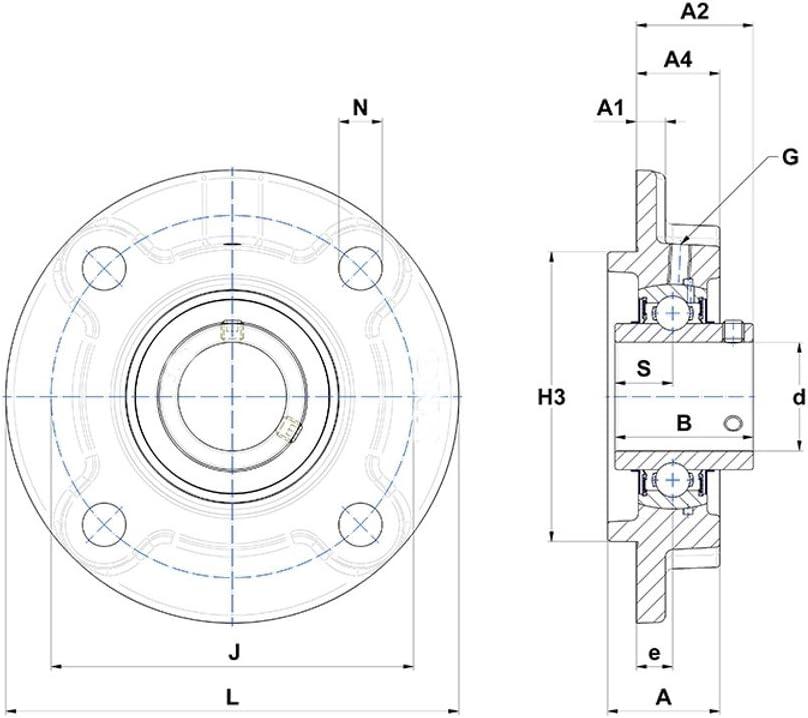 Soporte a Brida de fundido UCFC 206/con rodamiento oscilante 30/mm LDI