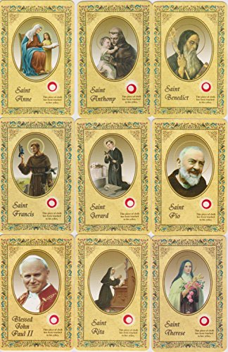 - Blessed Pope John Paul II Relic Holy Prayer Card Set w/St Saint Anne, Anthony, Benedict, Francis, Gerard, Padre Pio, Rita and Teresa 3rd Class Relics