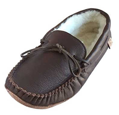 Laurentian Chief Mens Sheepskin Lined Brown Leather Moccasins ...