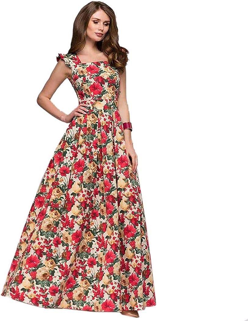neudas Women Elegant O-Neck Floral Printed High Waist Large Pendulum Dress Dresses
