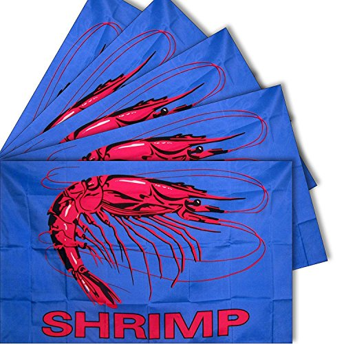 ALBATROS 3 ft x 5 ft Set 5 Pack Advertising Shrimp Blue Business 5 Flags Flag for Home and Parades, Official Party, All Weather Indoors Outdoors