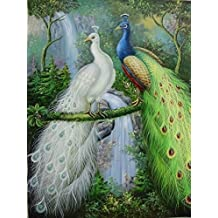 12X16 inch Stretched Animal Canvas Print RePro White and Green Peacocks (Stretching Included)