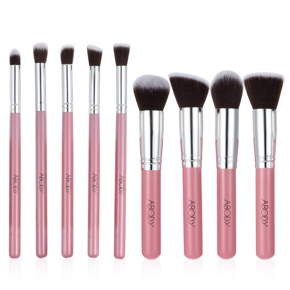 Abody 9Pcs Makeup Brush Kit Wood Professional Cosmetic Set Foundation Brush Powder Brush Eyeshadow Brushes Pink