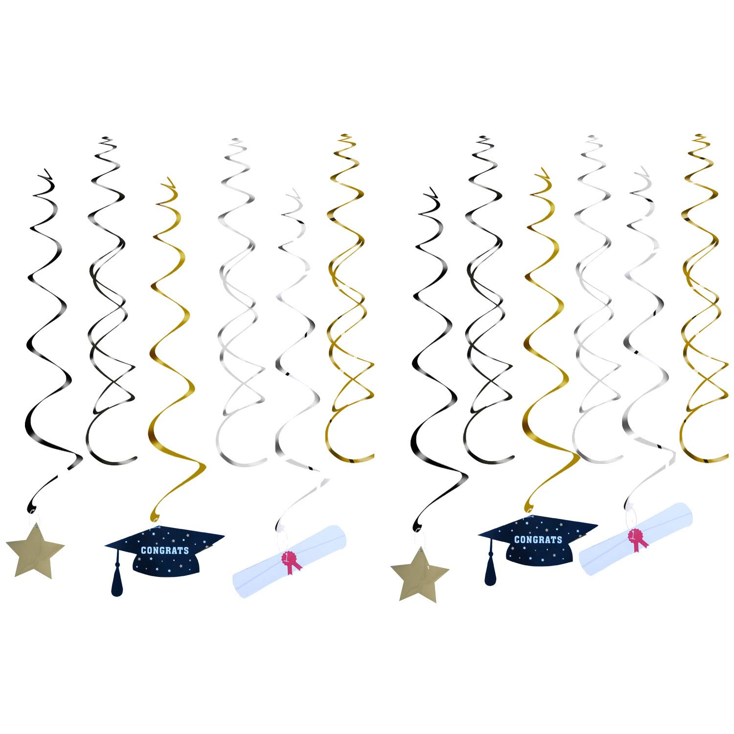 Graduation Party Supplies 2019 Graduation Party Decorations Graduation Banner Congratulations Banner Hang Swirls and Black & Red 2019 Balloons by Brillex (Image #4)