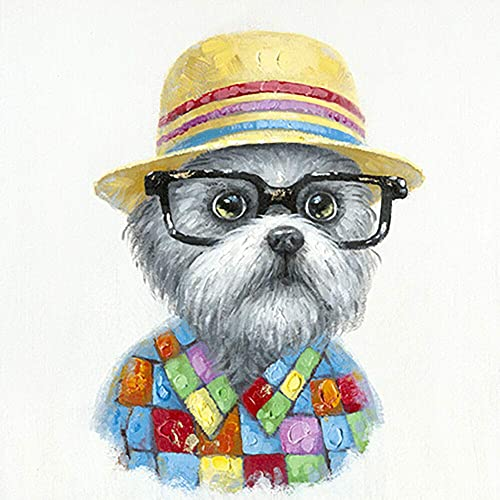 Terrier Sophisticated Dog Wall Art Modern Printing On Canvas Painting with Hand Embellished Home D cor 28 x 28