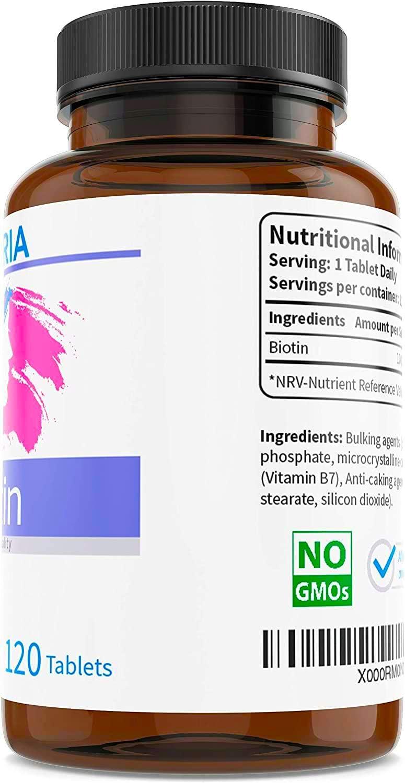 Biotina - Vitamina B7 para fortalecer y evitar la caída del cabello - Piel, pelo y uñas más fuertes y sanas - 120 comprimidos - 10000 mcg - Suministro ...