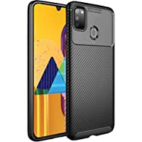 TheGiftKart Rugged Shockproof Carbon Fibre Slim Armour Back Cover Case for Samsung Galaxy M30s (Black)