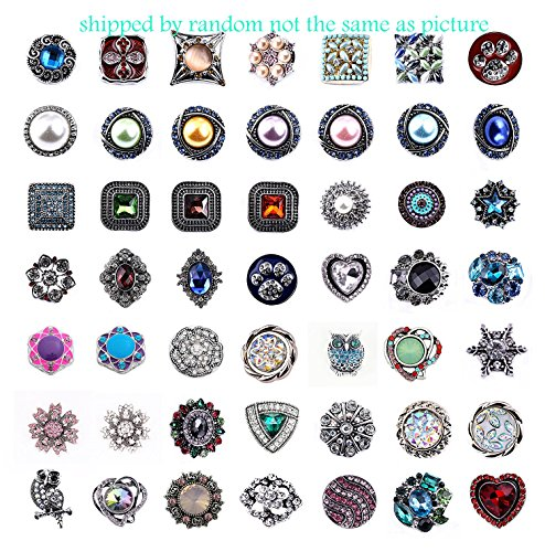 Efivs Arts 20pcs Mixed Random Rhinestone Snap Chunk Press Button Jewelry Charms 18mm for Snap Jewelry Making by Efivs Arts