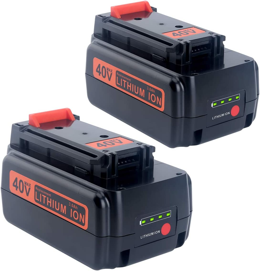 Lasica 2-Pack 40V Lithium Battery Replacement Black and Decker 40V Battery LBX2040 LBXR36 for Black Decker 36/40V MAX Cordless Tools LCS1240B LSWV36 LST136B LHT341FF LGC120AM 40V Black Decker Battery