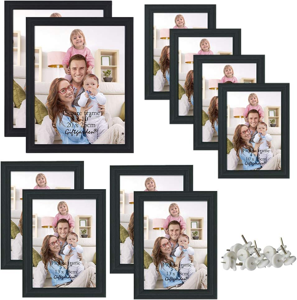 Giftgarden 10 Pcs Multi Picture Photo Frames Set for Multiple Size Photograph, Two 8x10, Four 4x6, Four 5x7, Black