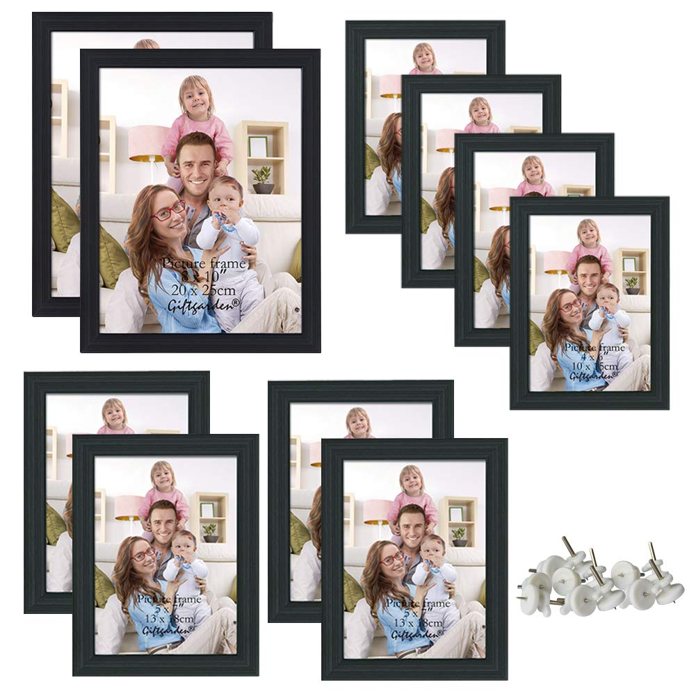 Giftgarden 10 Pcs Multi Picture Photo Frames Set for Multiple Size Photograph, Two 8x10, Four 4x6, Four 5x7, Black by Giftgarden