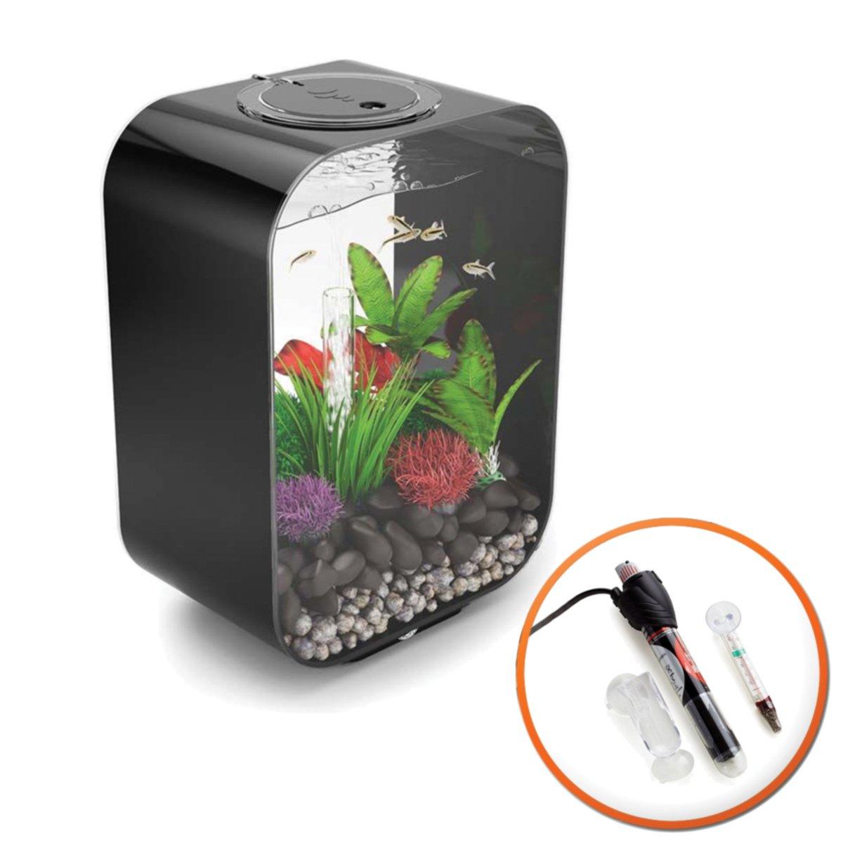 BiOrb Life 15L Black Tropical Aquarium with MCR LED Lighting and Heat Pack