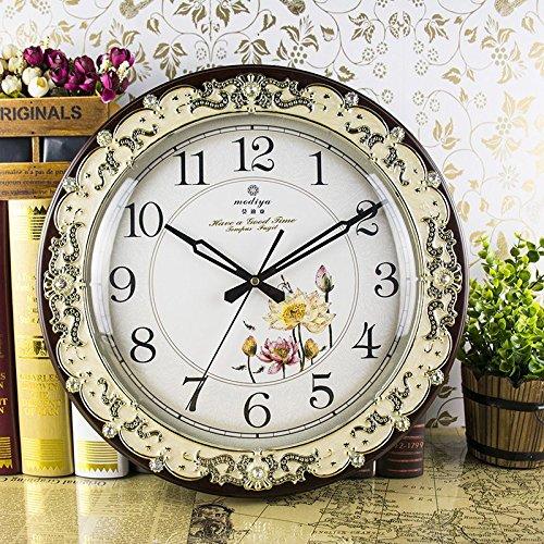 Wand Uhr stumm pastoralen Wohnzimmer solide Holz Schlafzimmer Büro Schautafeln bei der pastoralen stumm Runde Quarzuhr Mode , 4 4cd21d