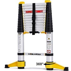 xaestival Lionladder 12.5FT EN131-6 Telescoping Ladder, One-Button Retraction, Pro Aluminum Ladder, 330 Lbs Capacity