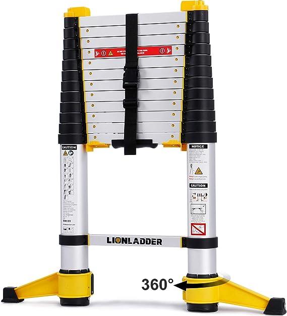 Lionladder EN131-6 3,8m Escalera de Extensión Telescópica Pro, Retracción con un Botón, Aluminio, 150kg: Amazon.es: Bricolaje y herramientas