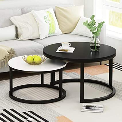 Amazon.com: Coffee Table Set of 2 Stackable Side Tables for ...