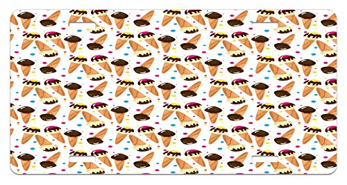 Ice Cream License Plate by Ambesonne, Chocolate Covered Ice Cream with Colorful Little Dots Frozen Desert Waffle Cones, High Gloss Aluminum Novelty Plate, 5.88 L X 11.88 W Inches, Multicolor