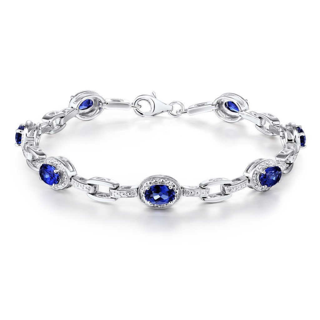 Lab Created Blue Sapphire Bracelet in Rhodium Plated Sterling Silver - 7 Inches