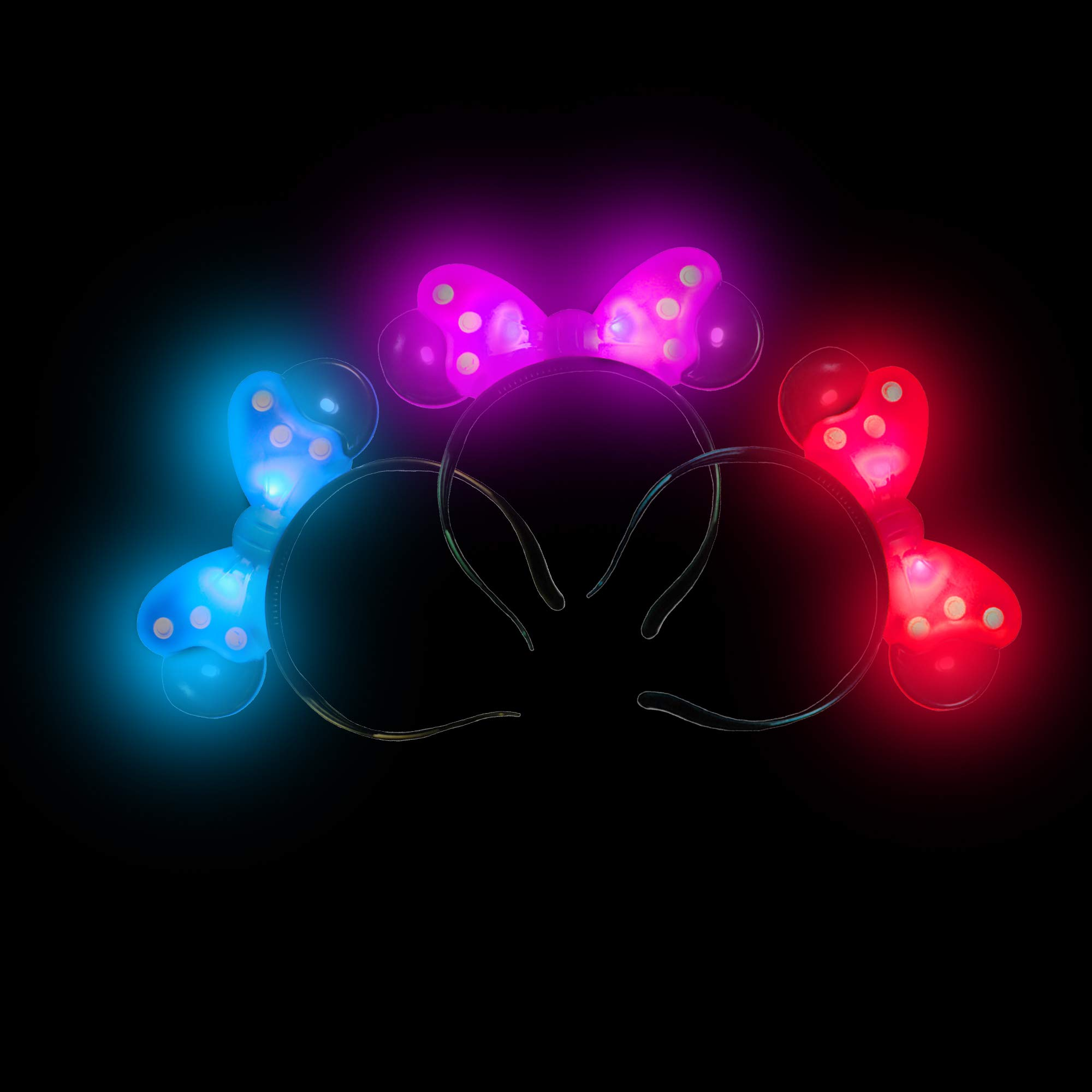 Fun Central 12 Pack - LED Polka Dot Headband - Light Up Bow Headband for Girls & Women - Assorted Color by Fun Central
